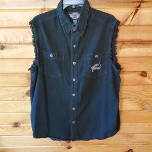 Harley Davidson Black Denim Button Down Shirt